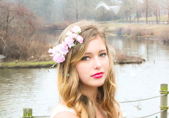 sweet pea flower band flower hairpiece