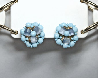 Vintage 50s Baby Blue Cluster Glass Bead Clip Earrings