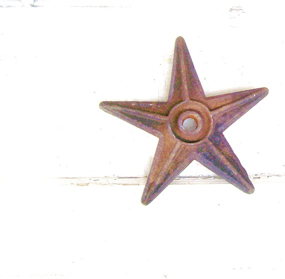 Antique Rustic Primitive Star. Cast Iron Wall Medallion. Masonry Star. Architectural Salvage