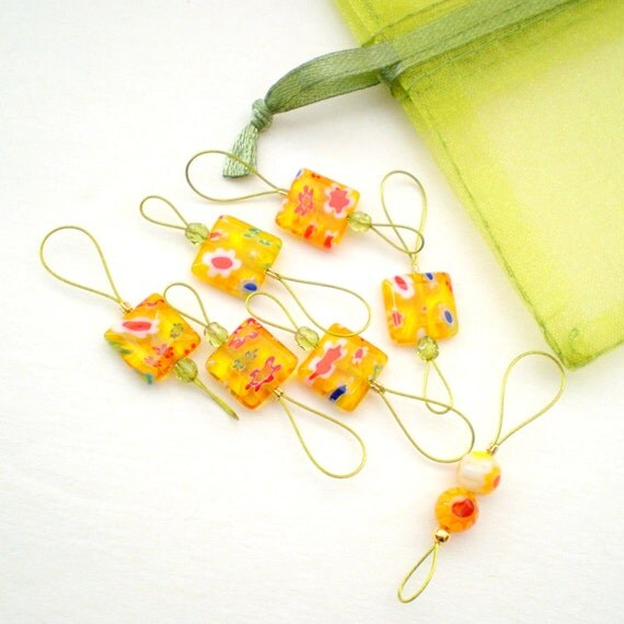 Knitting Stitch Markers - Set of 7 Handmade Flat Square Bead Knitting Markers -  Honey Millefiori