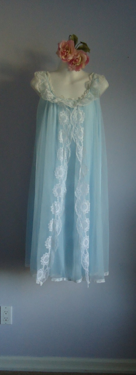 Vintage Nightgown, Vintage Nightgowns, 1960s Nightgown, Kayser, Light Blue Nightgown, Romantic, Wedding, Chiffon Nightgown, Lace, Lingerie