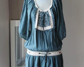 Forest Fairy dress woodland dress crocheted  drop waist dress bohemian medieval dress gaelic bridesmaid