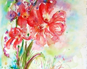 Bouquet of Wildflowers watercolor poppy tulip bouquet - fine art giclee print 8x12