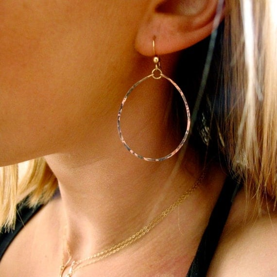 Rose Gold Hoops for Nuns - Thin Rose Gold Filled Hoop Earrings - Rose Gold Oval Hoop Earrings - Delicate Gold Hoops