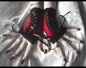 Carmilla's Masque Victorian Corset Laced Up Fingerless Glove Mittens - Scarlet Red w/ Black Lace - Dark Fusion Bellydance Wedding Emo Lolita