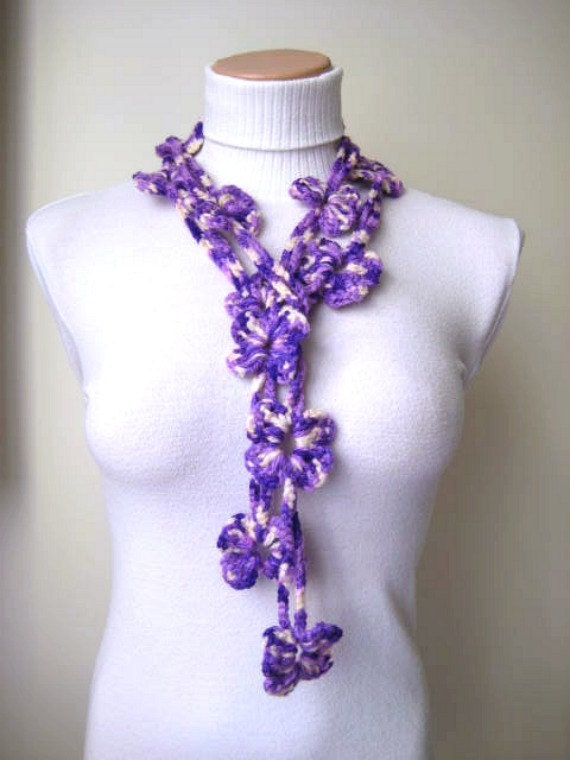 Purple and Cream Crochet Necklace - Ivory and Violet BLOOM BLOSSOM Scarflette, Scarf, Belt, Lariat - READY for Shipping - Gift for Her