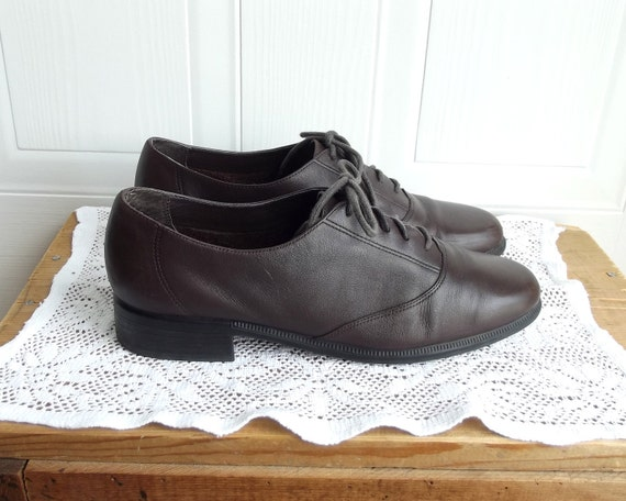 Brown Leather Oxfords, Liz Claiborne, Size 8 m, chocolate brown, womens shoes