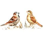 Whimsical Sparrow Print, Brown, Bathroom Painting, office art, Bird Print, Bird Painting, Brown Home Decor, Watercolor Art, cinnamon, gold