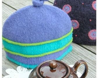 PATTERN-BOOKLET. A Knit & Felt Wool 2-Cup Tea Cozy Pattern
