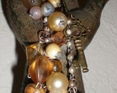 Key Pendant Assemblage Necklace Hand Beaded Peaches & Cream BoHo Mixed Metal With Pearls Romance Necklace