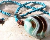 Bold Necklace, Giant Colorful Onyx, Turquoise Necklace, Chocolate Brown Teal Aqua Wave, Exquisite Highly Polished Stone, Unique gift for her
