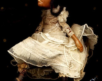 "1 RESERVED! Storyville Valentine ""BeBe d'OR"" with a hEart of gold...New Orleans haunted bebe ooak handmade art doLL of clay...PROTOTYP"