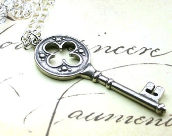 The Celtic Key Pendant - Silver Key Necklace - Handmade with Sterling Silver and Swarovski Crystal