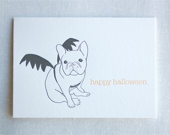 French Bulldog Halloween Letterpress Card