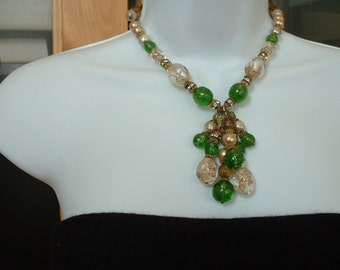 Vintage ITALIAN MURANO Necklace Gold Fleck CRYSTAL Emerald Green Lampwork Glass Bead w Rhinestone Handset Channel Beads