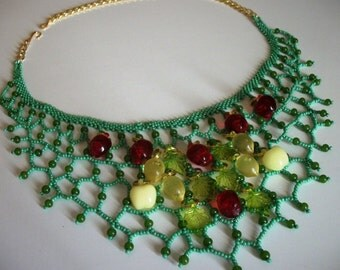 Festive Fruit Net Turquoise Green Beaded Bib Collar Necklace - Necklaces for Women FUN Gift Ideas for her