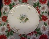 Vintage Christmas winter blossom and pine needle plate hand painted embossed china