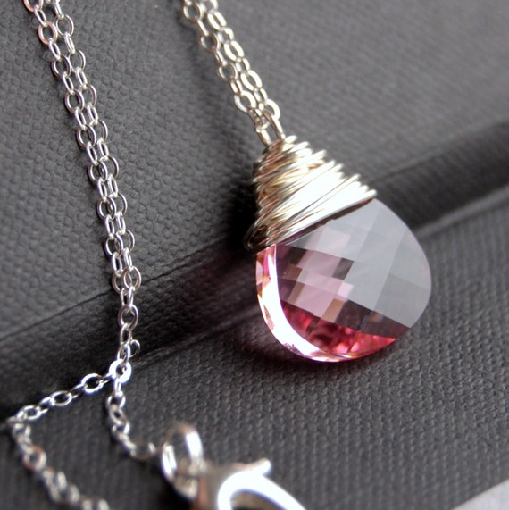 Light Pink Crystal Necklace, Rose Pink Swarovski Crystal Wire Wrapped Flat Pear Teardrop, Sterling Silver Cable Chain, Soft Rose, Blush
