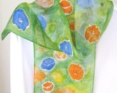 Hand painted silk scarf floral orange blue and green poppy 8x54 long Canada scarf