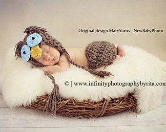 OWL Set 2pcs Hat and diaper cover  Blue Eyes Newborn Baby Photo Prop in Brown Photography Hat Babies Infant Girl Boy photo shoot
