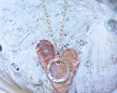 VALENTINES gift HEART, BABY name necklace w/ copper, textured ring & 14k gold fill or sterling silver chain