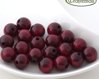 Wooden Beads - Round - Cranberry Red 16mm - 10 Beads