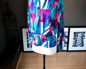Summer storm... Vintage circa 1980s WATERCOLOR print blouse