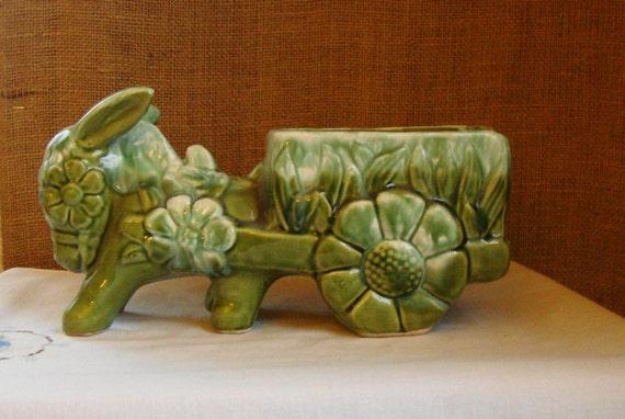 MID CENTURY Green Donkey Daisies Cart Planter Flowers For Eyes, Flower Wheels - Folk Art