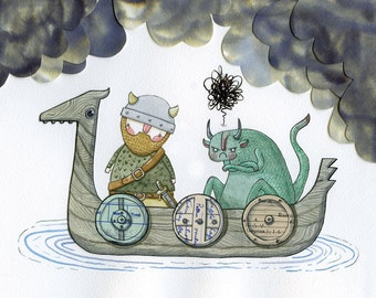 Eldric and the Reluctant Snörg - A4 Print - Viking beast dragon adventure warrior angry beard humour sword shield boat clouds illustration