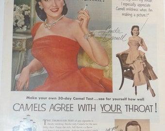 Vintage Camel Cigarette Celebrity Ad Linda Darnell