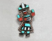 Old Zuni Rainbow Dancer Pin / Pendant Vintage Sterling Inlay Turquoise Coral Jet Shell Signed Natachu