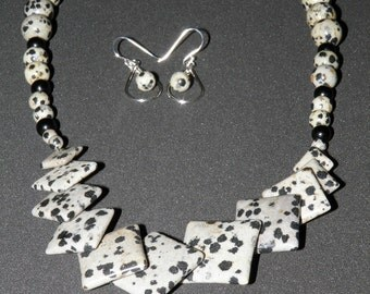 Shop Closing Clearance Sale DALMATIAN JASPER Necklace Gemstone Necklace And Earrings Set Natural Black And White Statement Necklace Beaded
