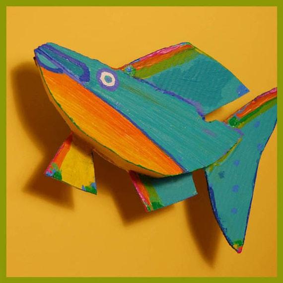 Colorful Fish Art Wall Decor - Whimsical Ready to Hang Original Handmade Fish Art - Yellow, Orange, Blue