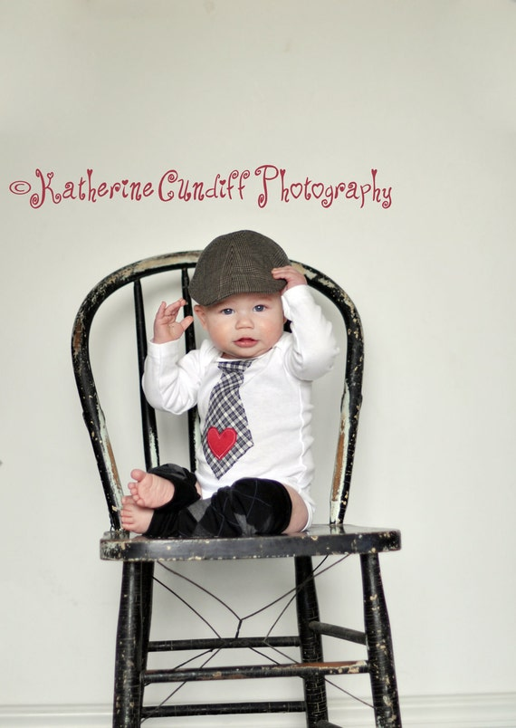 Baby Boy Black and White Plaid Tie Bodysuit with Heart Applique & Leg Warmers Set Baby's 1st First New Years Valentine's Day Photo Prop Love