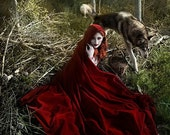 Red Velvet Hooded Cloak Ridding Hood cloack with train very long cape
