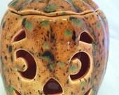 Ceramic Pumpkin Jack O Lantern - Lights Up - Light Kit Included