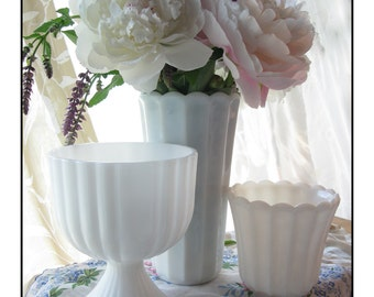 Vintage Milk Glass Vase Collection / Milk Glass Wedding / Milk Glass Centerpiece