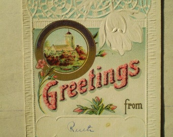 Greetings From Ruth - 1913 - Neponset, Illinois & Long Beach, California - Antique American Postcard