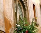 Rome Italy Photography - Roman Window Garden Print - Italian Architecture Photo Flowers Lace Curtains European Home Decor Art Print