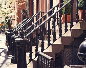 New York City Art - West Village Steps Photograph -  NYC Print Autumn Sunlight Photo Urban Brownstones Vintage Inspired Home Decor