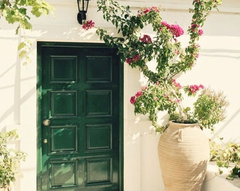 Green Door Photo Greece Photography Emerald Green Decor Mediterranean Home Decor Greek Wall