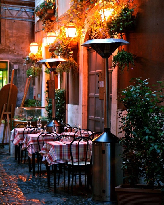 Rome Italy Photography - Italian Restaurant Photograph - Candlelight Dinner - Tablecloths - Trattoria - Red Date Night Kitchen Art
