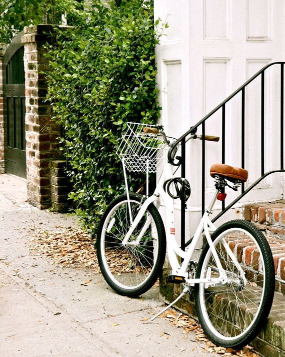 Southern Home Decor - Bicycle Photograph - White Bike Print - Charleston Photo - Green Black - Affordable Wall Art Brick Front Steps