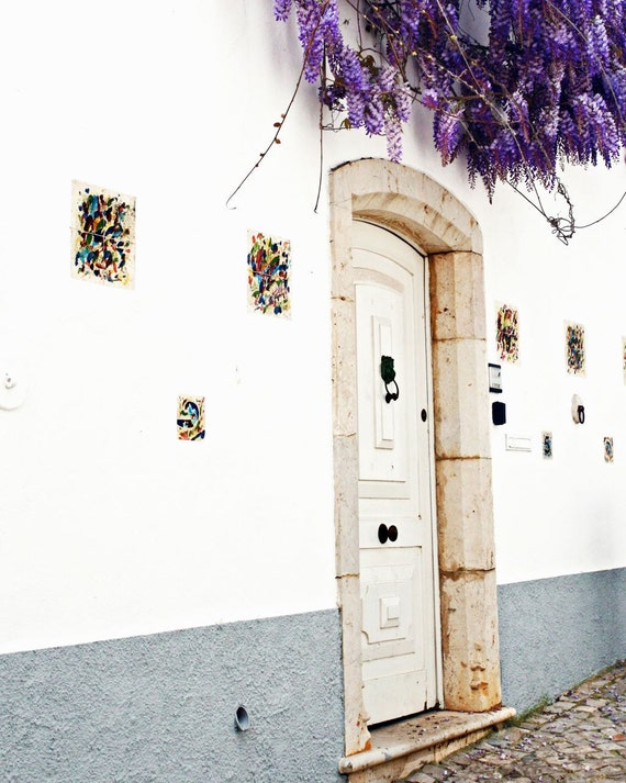 Portugal Photography - Door Photograph - Wisteria Print - Portuguese Wall Decor White Purple Photo Travel Photography Mediterranean Wall Art