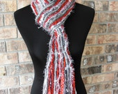 Ohio State Buckeyes Inspired Skinny Scrappy Scarf - Scarlet and Gray - Handmade