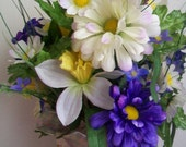 Spring or Easter Table Centerpiece - Springtime Basket of Daffodils and Zinnias