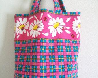 Tote Bag - Bright Pink Daisies and Plaid