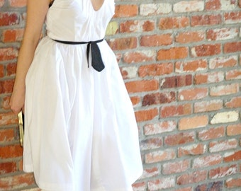 Cotton Dress Cinched with Black Tie