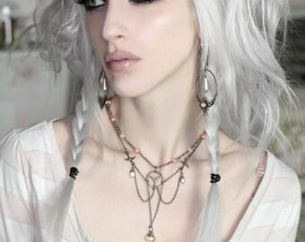 SPECIAL CLEARANCE Antique Brass Copper Coral Quartz Steampunk Necklace Delicate Romance