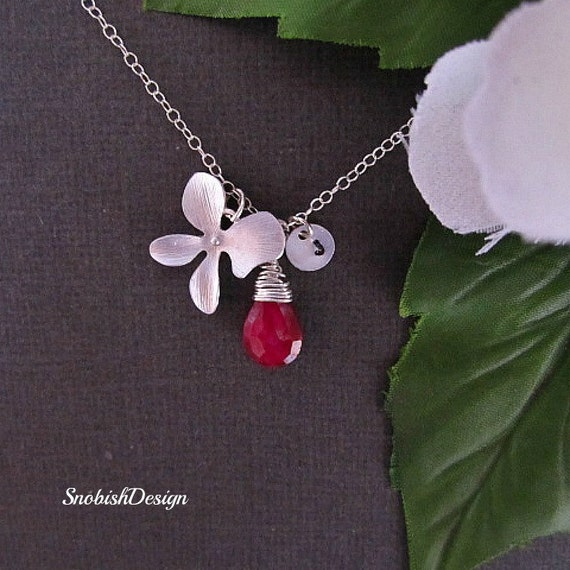 Birthstone Necklace, Ruby Necklace, Initial Necklace, Mothers Necklace, friendship necklace, Personalized Necklace, July Birthstone, Orchid